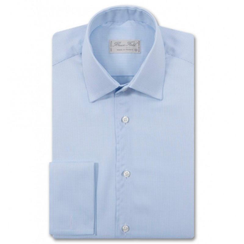 Chemise homme coupe droite et poignets mouquetaire en coton piqué