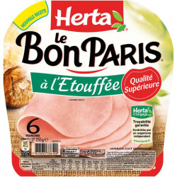 HERTA : Le Bon Paris - Jambon blanc cuit à l'étouffée sans couenne