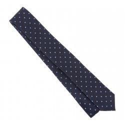 Cravate Hugo Boss bleu marine à pois bleu ciel