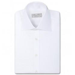 Chemise homme cintrée unie à col haut deux boutons